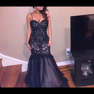 Black Cream Prom Dress with a Corsage in the Back
